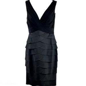 Adrianna Papell Black Tier Dress Size 4
